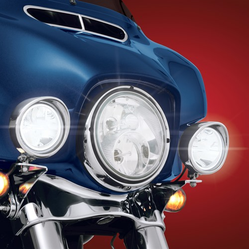 Focus LED Light Kit on Harley Lights ON