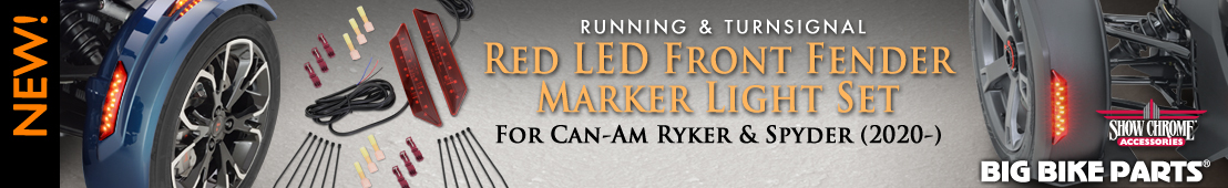Red LED Front Fender Running/Turnsignal Light Set For Can-Am Ryker and Spyder RT (2020-) - 